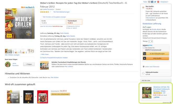 Amazon Sponsored Display Ads werden auf Produktdetailseiten oder auf Drittanbieter-Websites angezeigt.