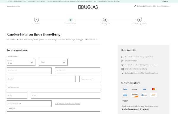 Ein Best-Practice-Beispiel für einen guten Checkout-Prozess im Ecommerce ist Douglas.